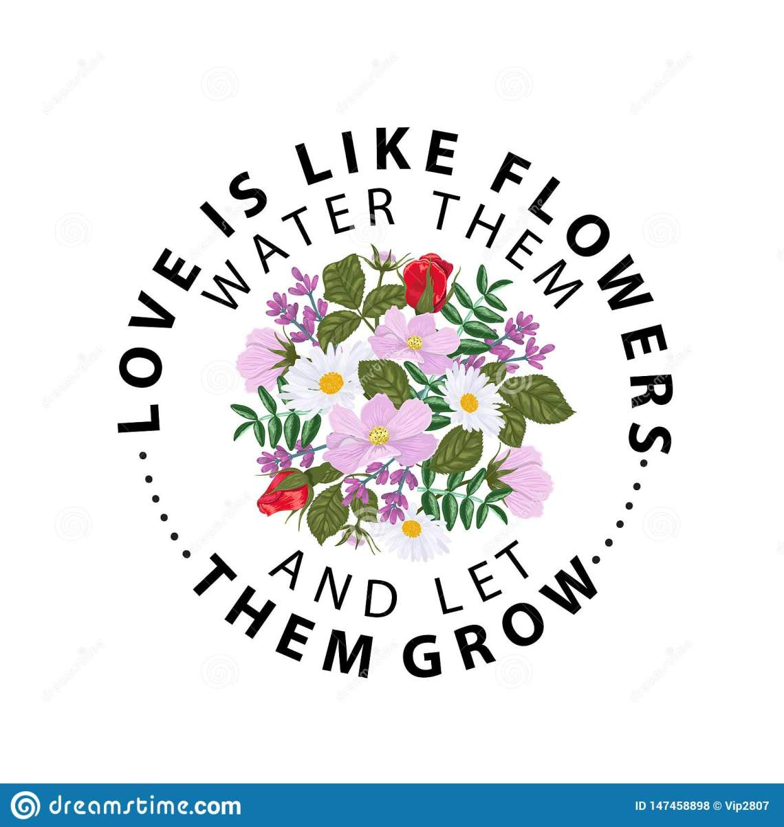 Download Typography Slogan With Flower Rose. Love Is Like Flowers ...