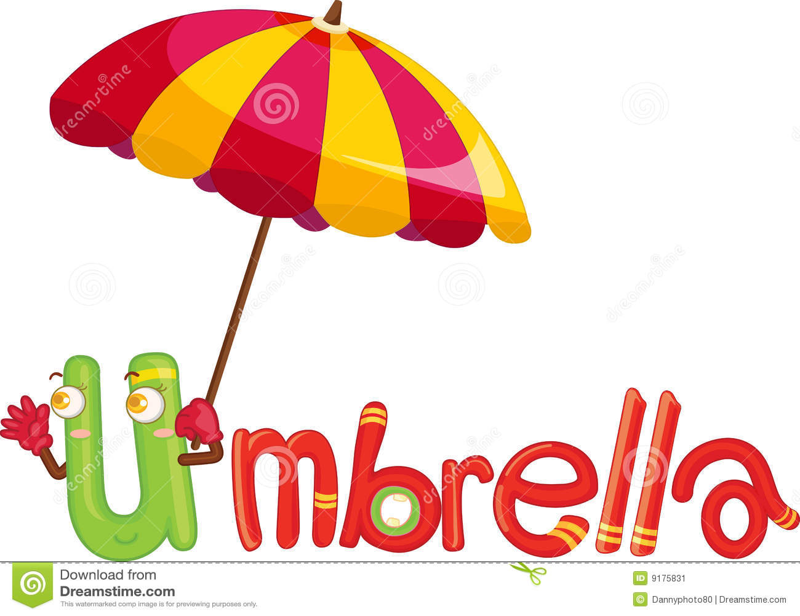 U For Umbrella Stock Illustration Illustration Of Drawing
