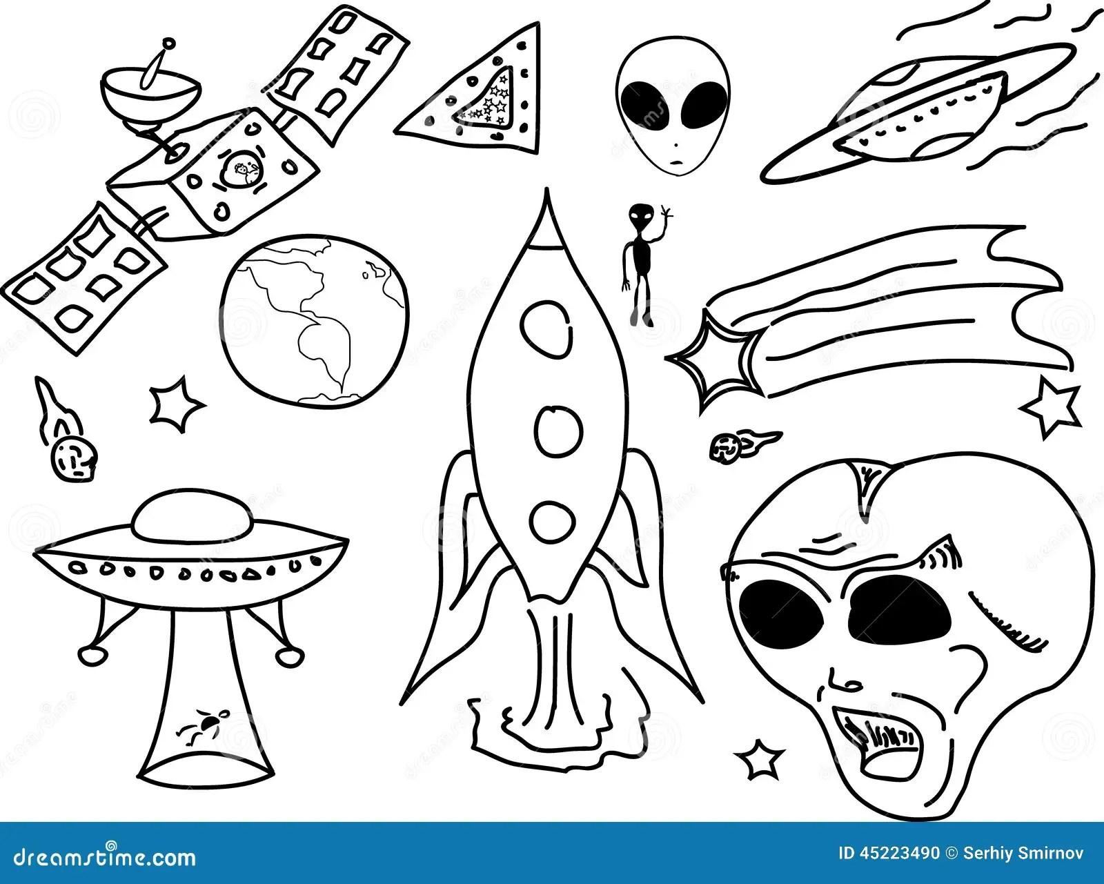 Ufo Doodle Cartoon Stock Vector Illustration Of Doodle