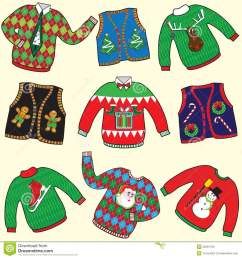 dare to wear ugly christmas sweaters and vests clipart [ 1300 x 1390 Pixel ]