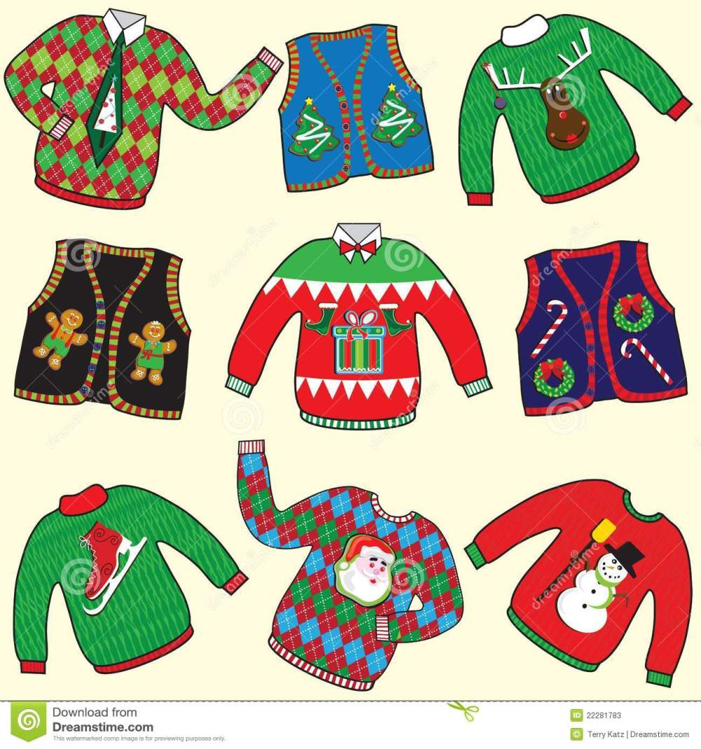 medium resolution of dare to wear ugly christmas sweaters and vests clipart