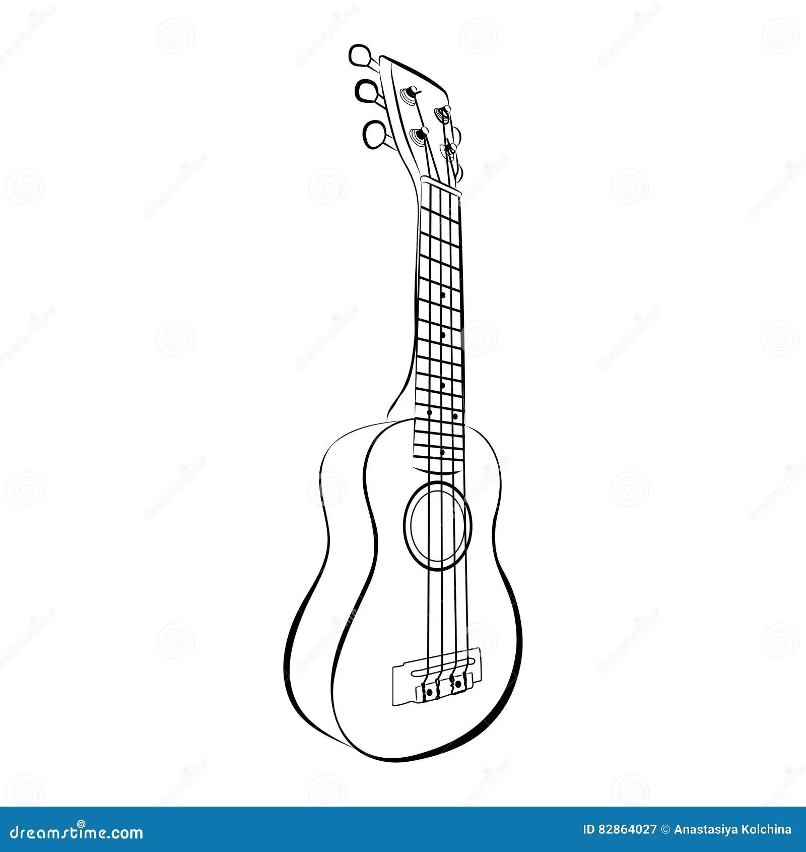 Classical Acoustic Guitar. Vector Sketch Vector