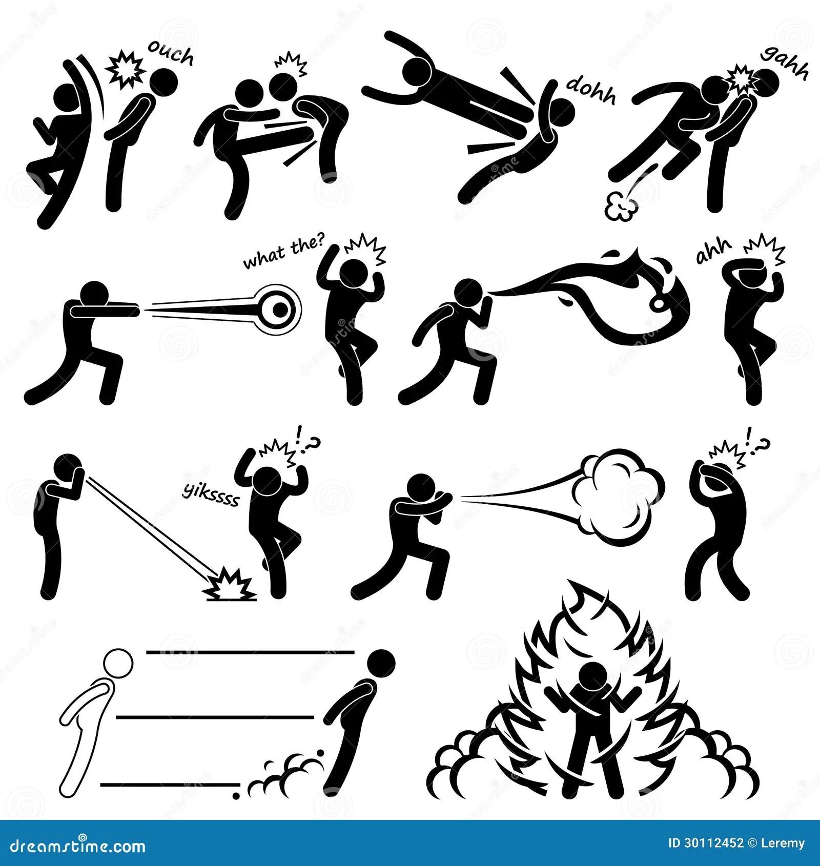 Pictograma Dos Povos Do Poder Super Do Lutador De Kungfu
