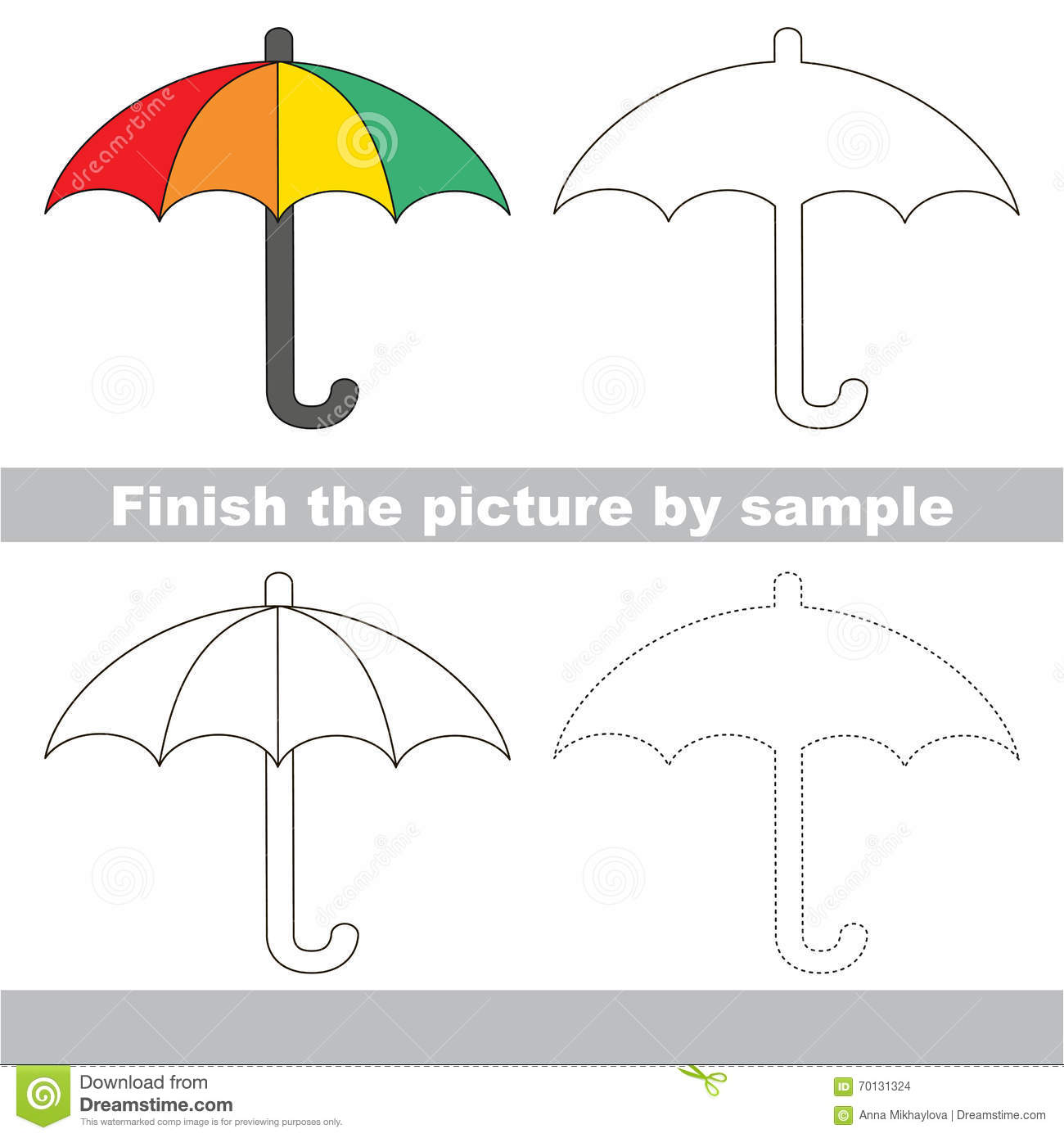 Umbrella Drawing Worksheet Stock Illustration