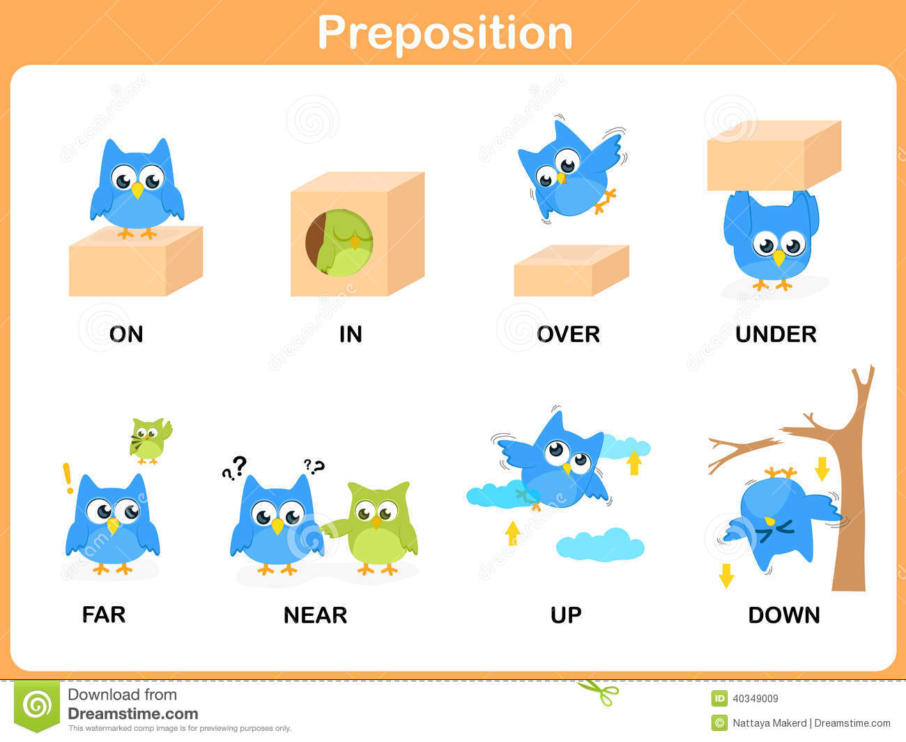 Preposition Of Motion For Preschool Stock Vector