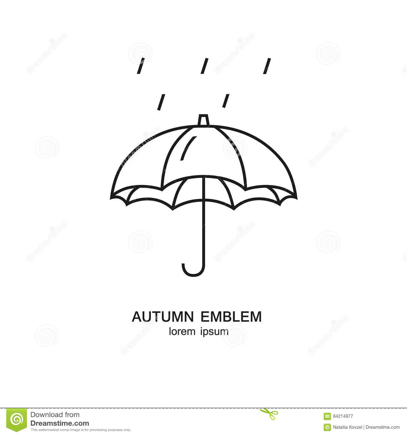 Umbrella And Rain Symbol Made In Trendy Line Style
