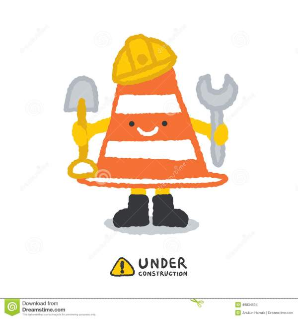 Under Construction Signs In Cartoon Style Stock Vector - Illustration Of Builder Site 49834534