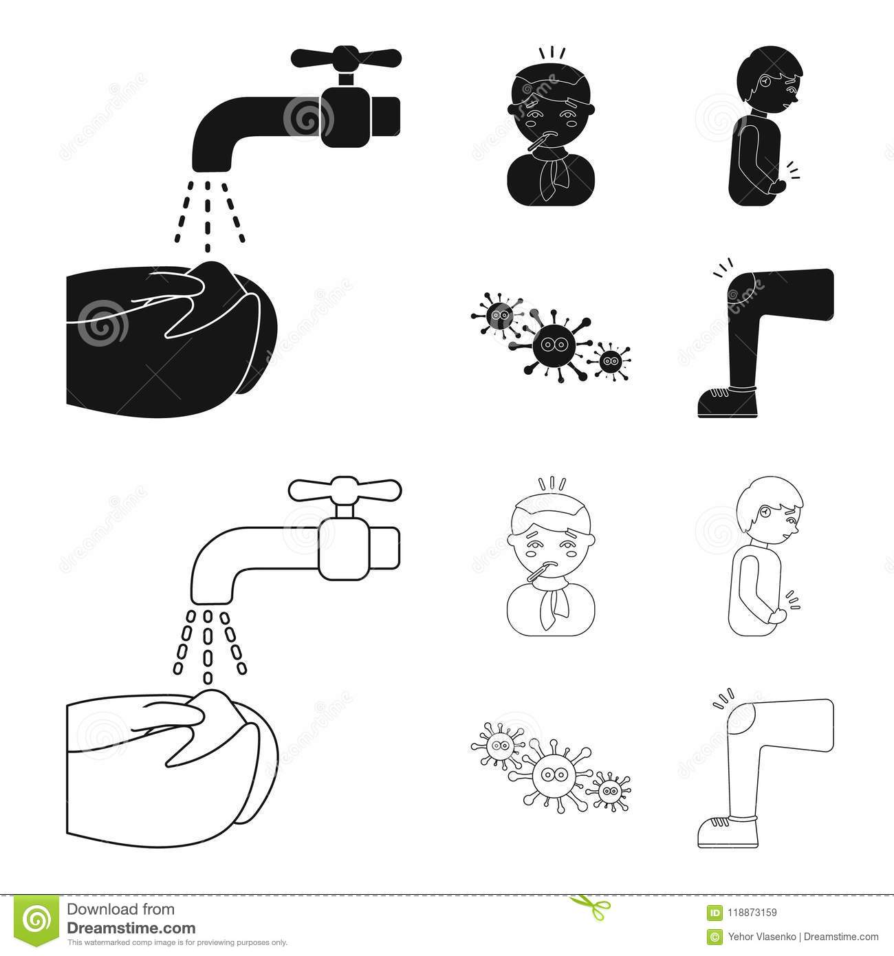 hight resolution of under a tap with water wash their hands the patient with a hot water bottle with ice on his head in a scarf a man has abdominal pain viruses microbes