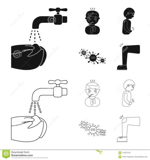 small resolution of under a tap with water wash their hands the patient with a hot water bottle with ice on his head in a scarf a man has abdominal pain viruses microbes