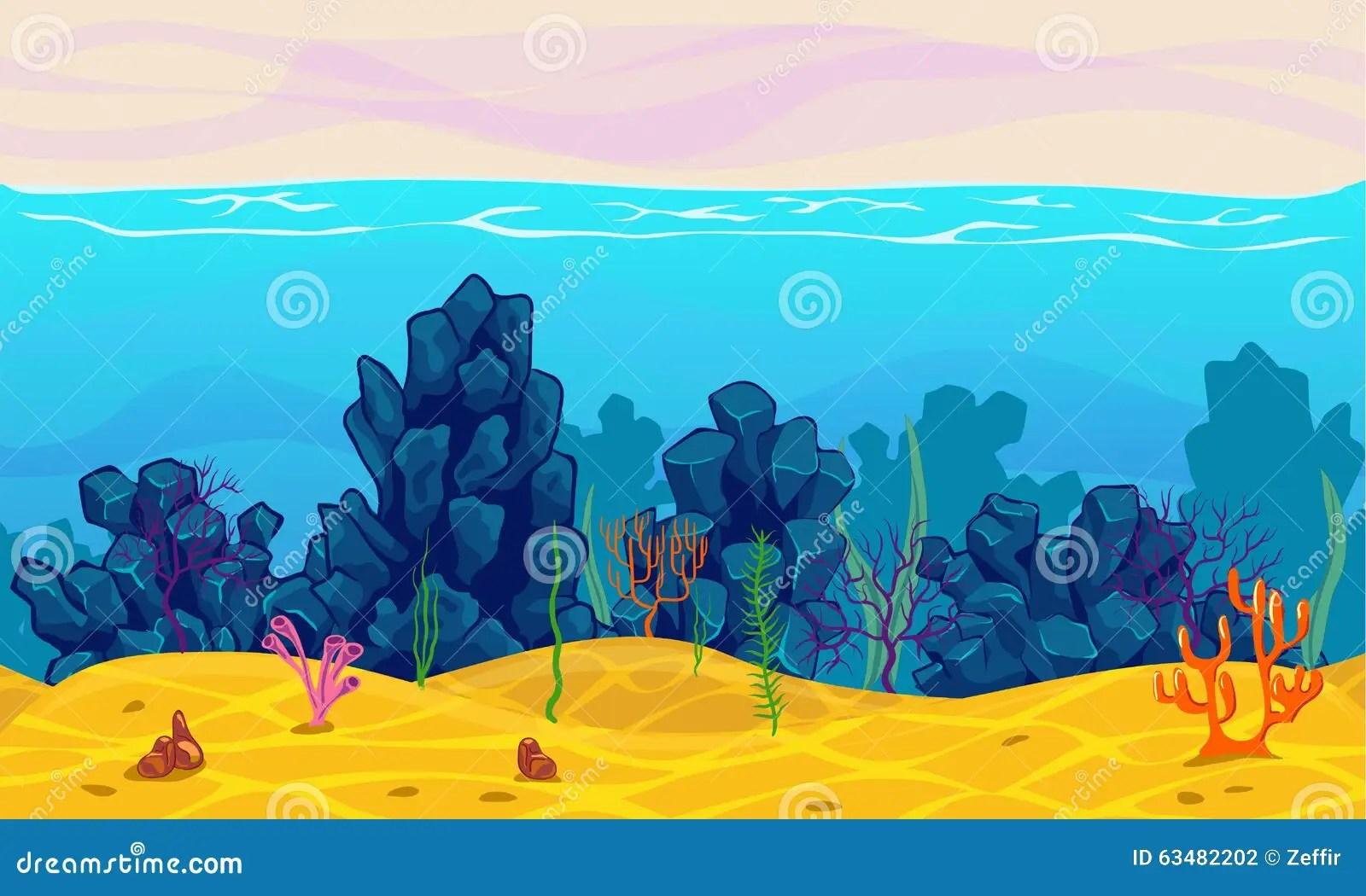Cute Algae Wallpaper Underwater Seamless Landscape Stock Illustration Image