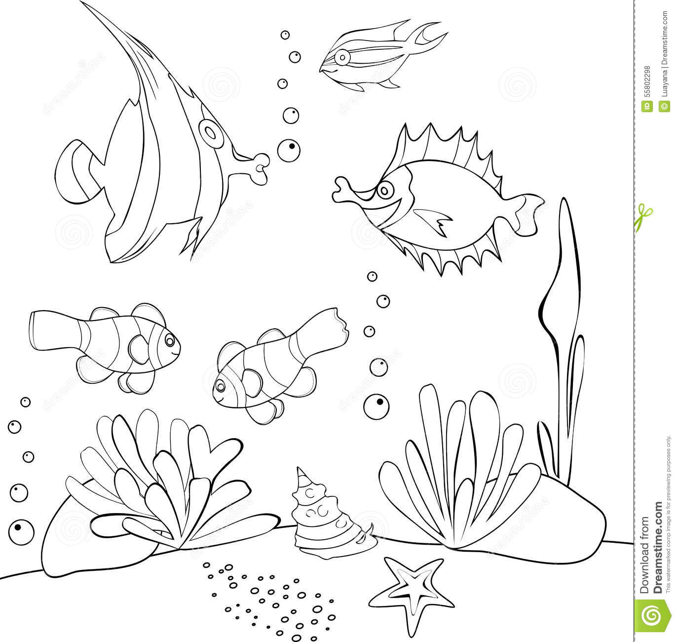 Coral Reef Drawing Sketch Coloring Page