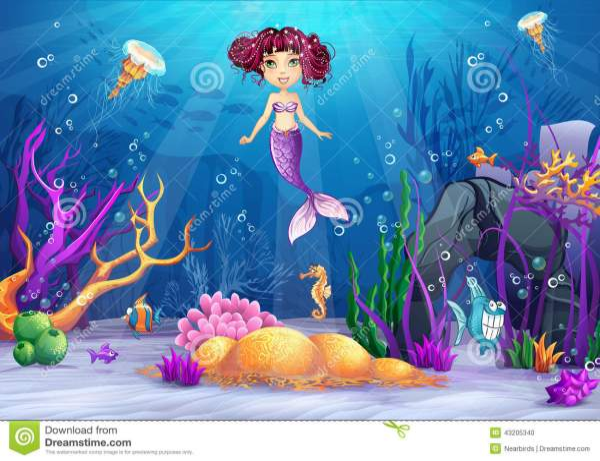 Underwater World With Mermaid Pink Hair Stock
