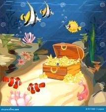Cartoon Underwater Treasure Chest