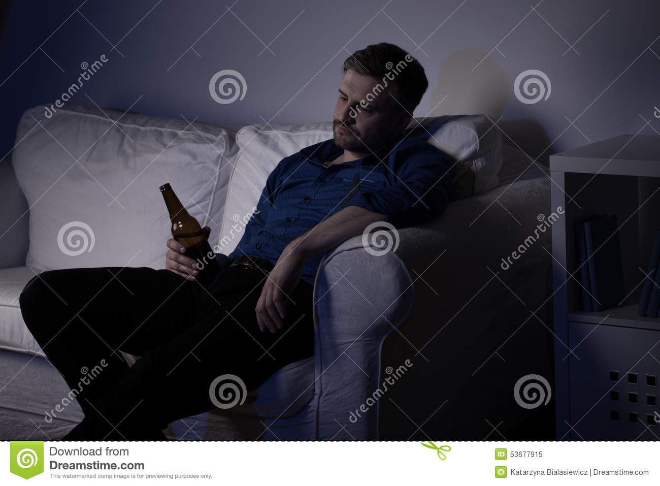 sofas on credit for unemployed italian leather cardiff man drinking beer stock photo image 53677915