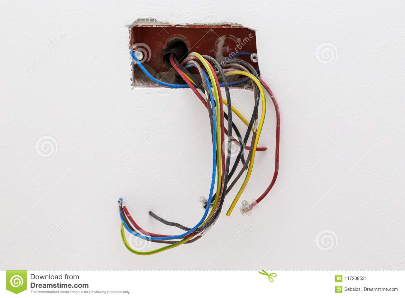 hight resolution of unfinished electrical mains outlet socket with electrical wires