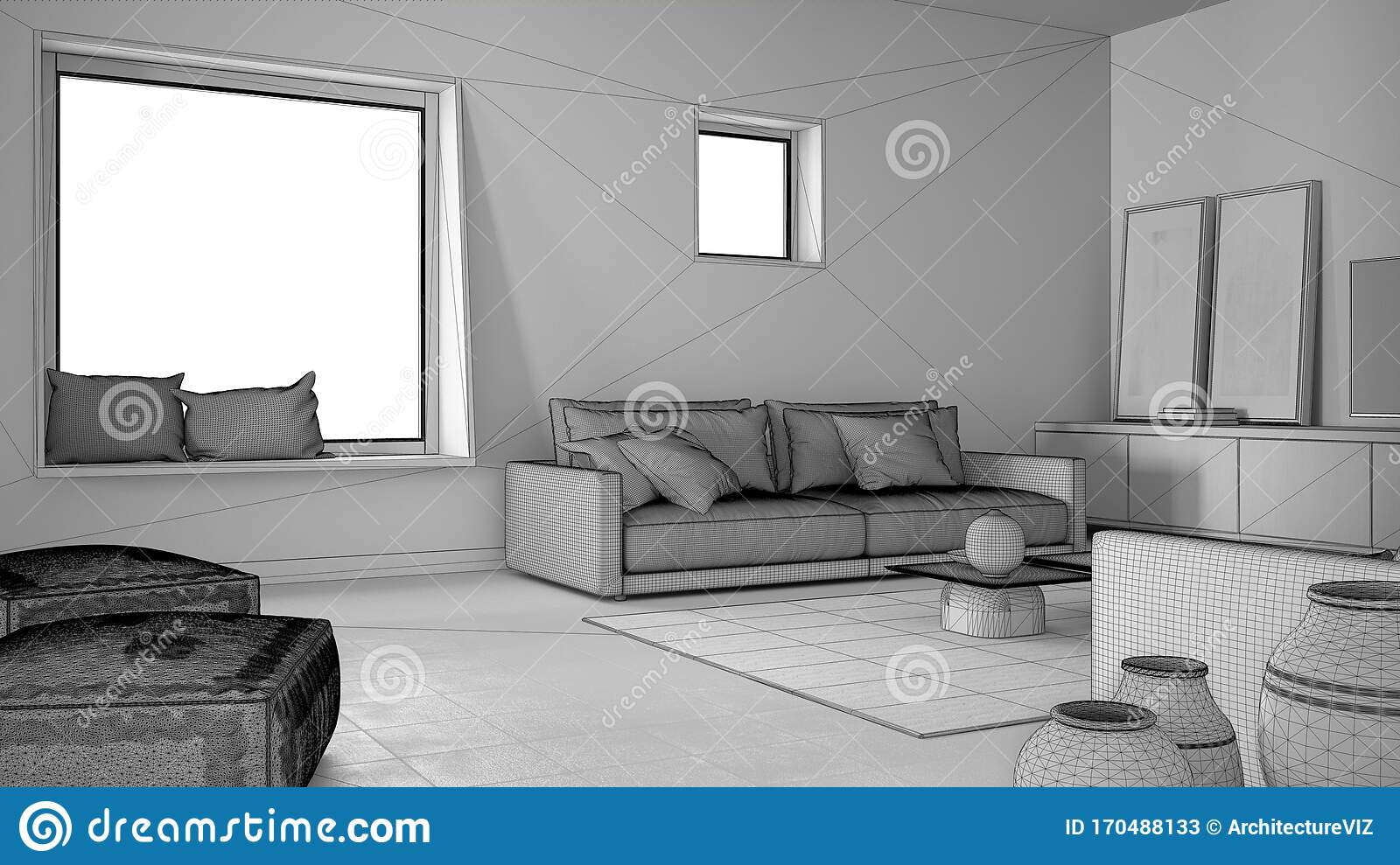 https www dreamstime com unfinished project draft cosy living room sofa pillows lounge carpet coffee table vases pouf decors big square window image170488133