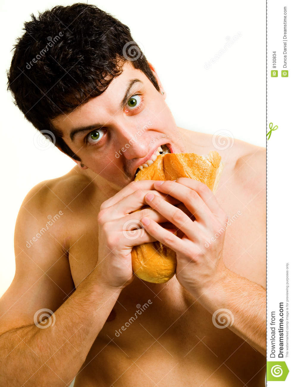 Unhealthy Food - Hungry Man Eating Bread Stock Images - Image: 8100834