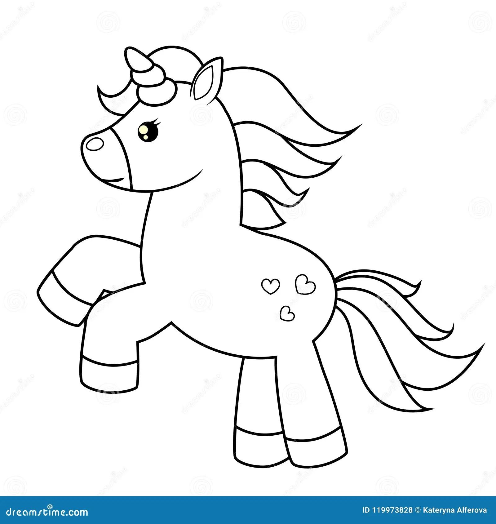 Unicornio Bonito Dos Desenhos Animados Ilustracao Preto E