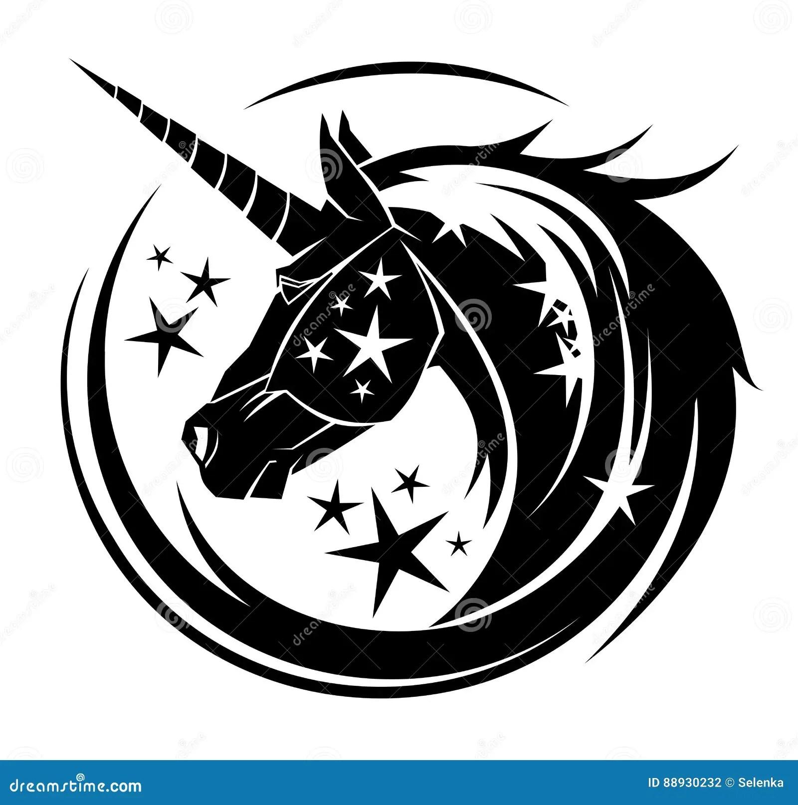 Unicorn Head Circle Tattoo Illustration Stock Vector