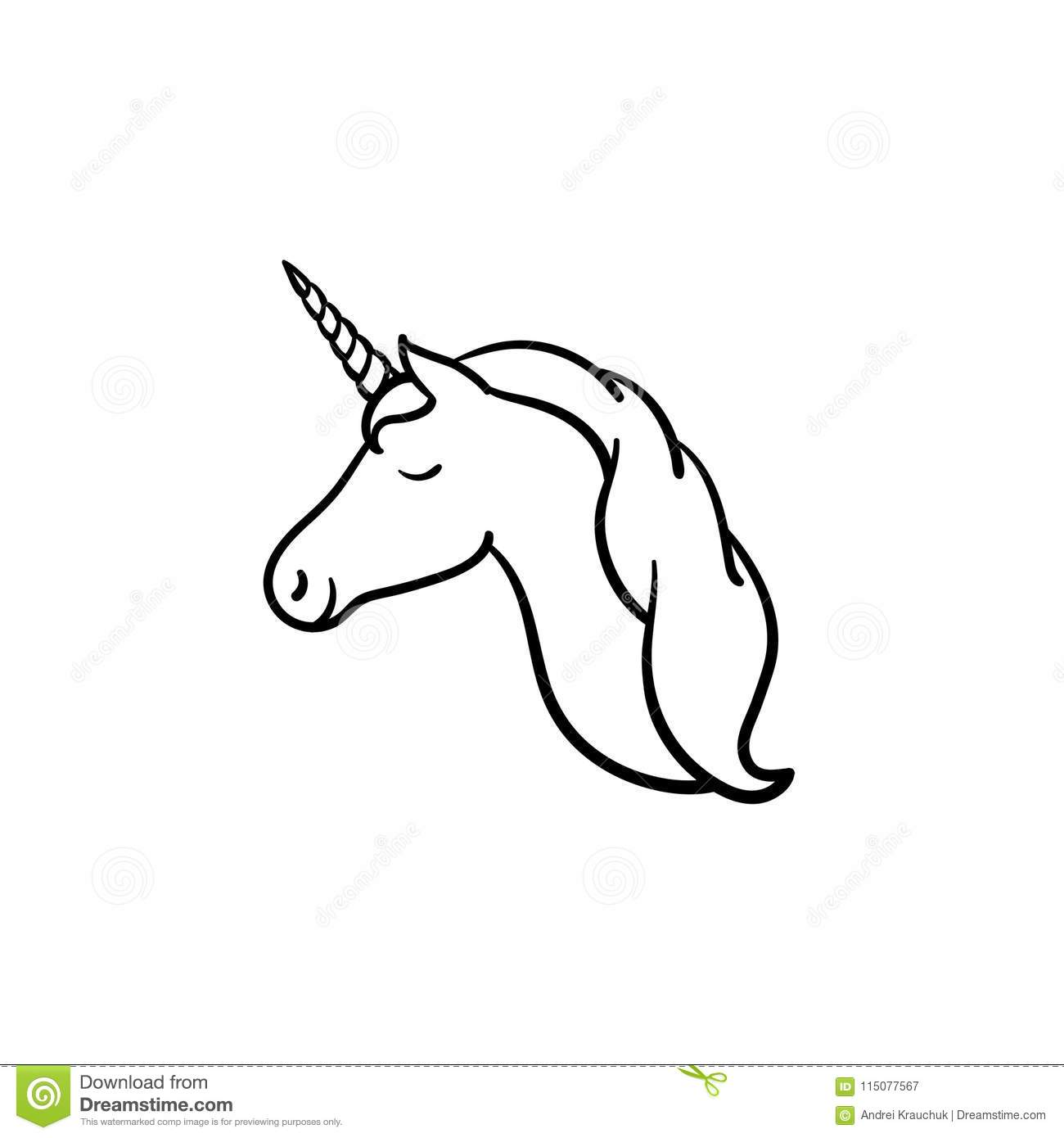 Unicorn Head With Horn Hand Drawn Sketch Icon Stock