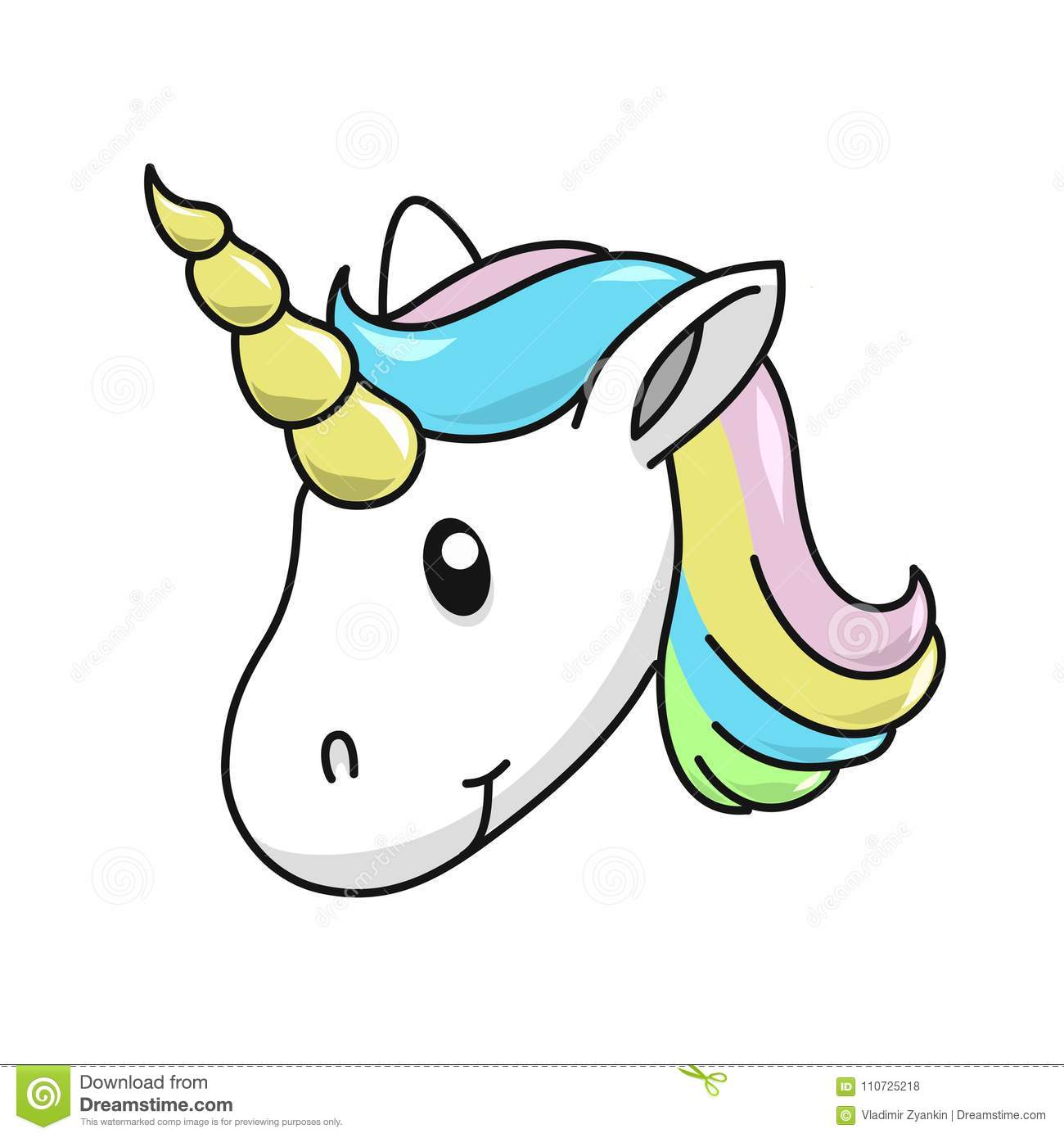 Unicorn Head Vector Illustration On White Background Cute