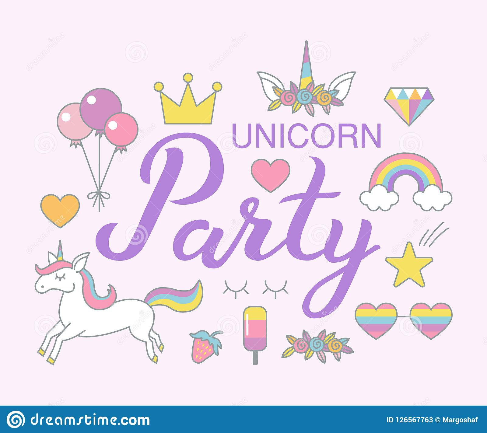 hight resolution of unicorn party birthday clipart set magical design