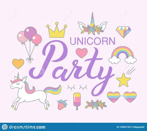 small resolution of unicorn party birthday clipart set magical design