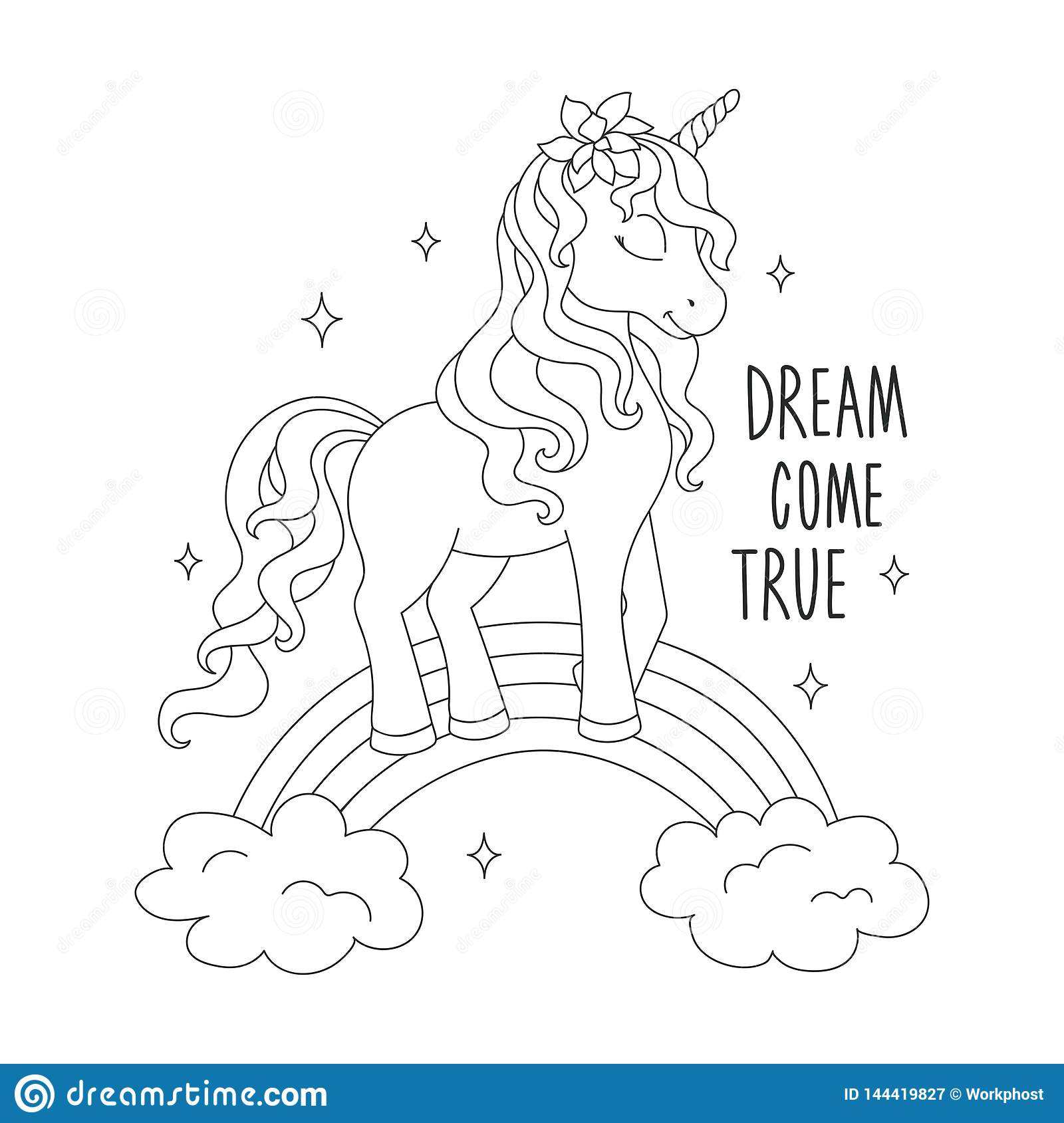 Unicorn On A Rainbow Coloring Pages Dream Come True Text Design For Kids Fashion Illustration Drawing In Modern Style For Stock Illustration Illustration Of Fashion Horse 144419827