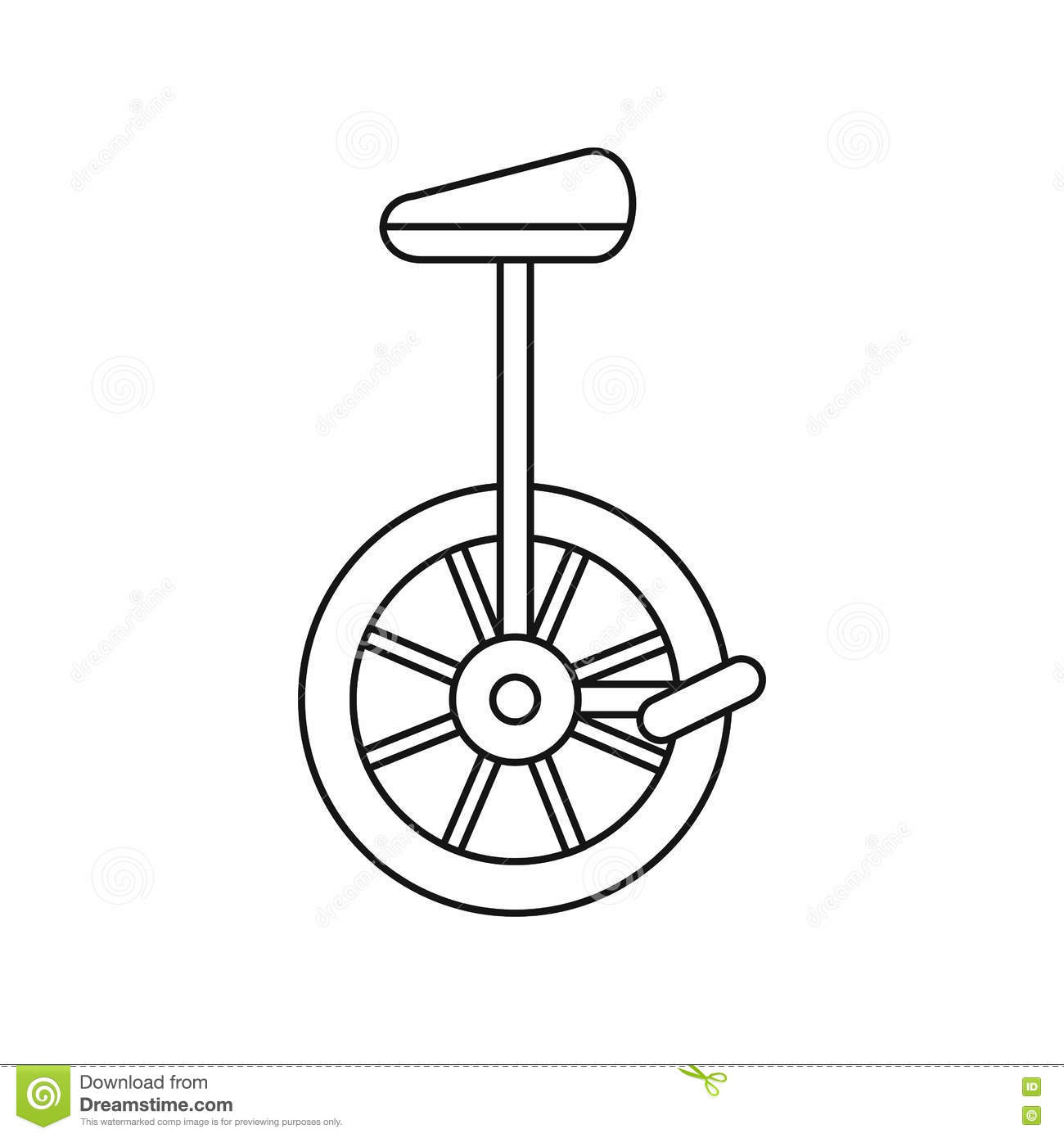 Unicycle One Wheel Bicycle Icon Outline Style Stock