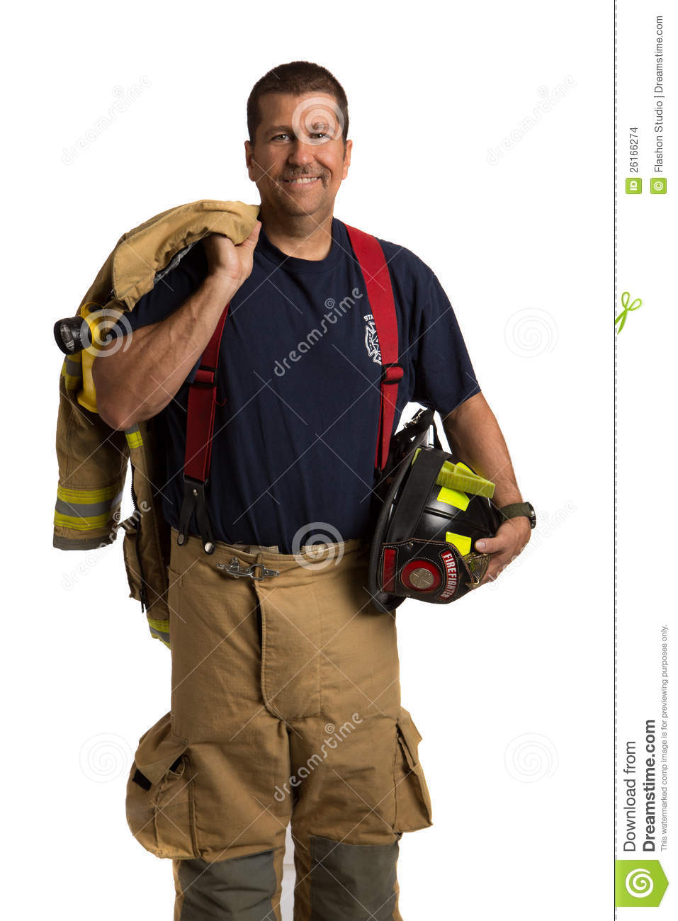 Uniformed Firefighter Standing Portrait Stock Photo
