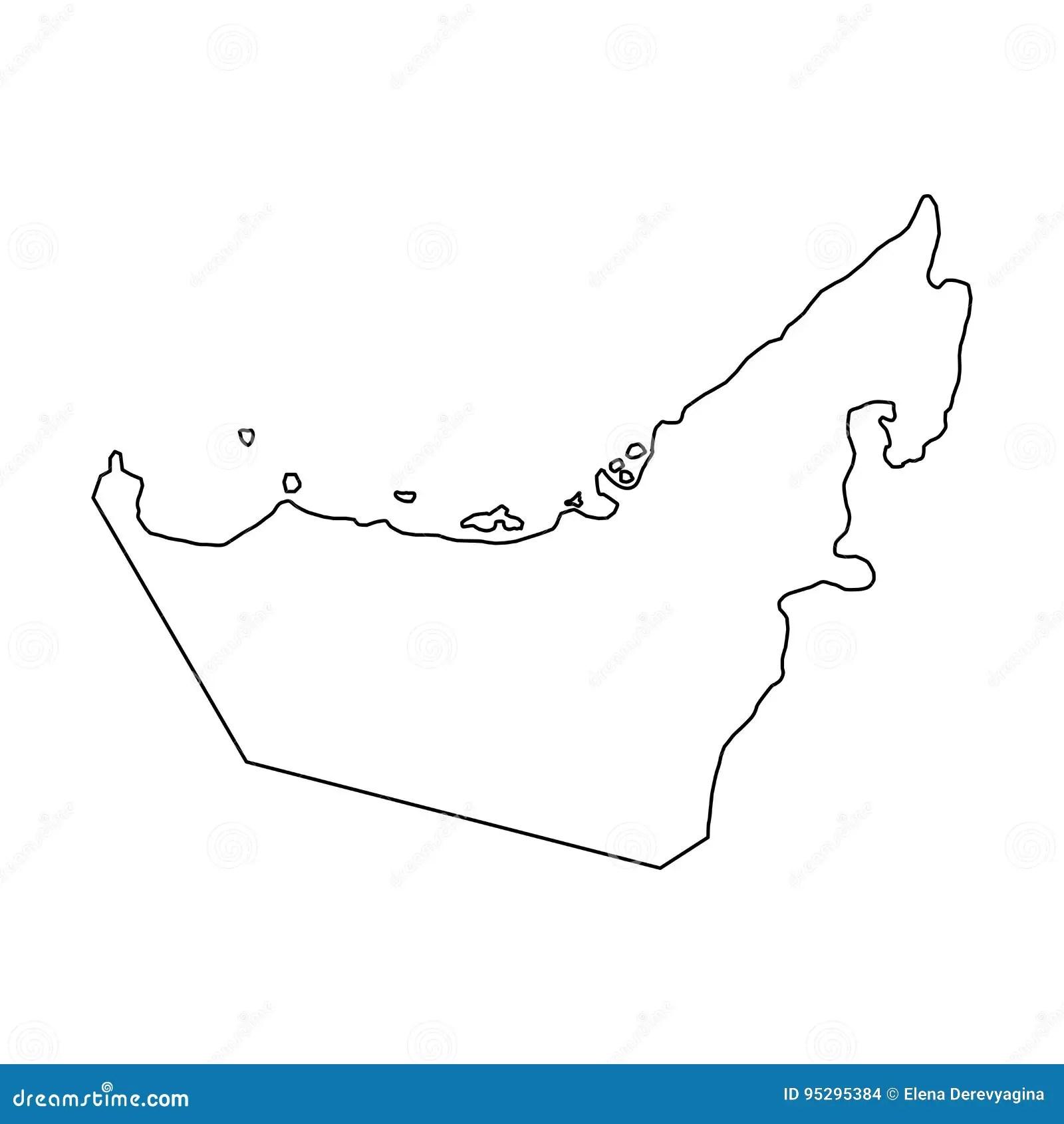 The United Arab Emirates Map Of Black Contour Curves