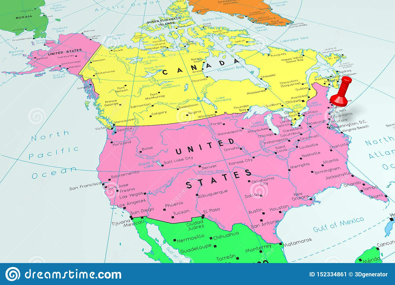 Is the capital city of the united states located on the north bank of the potomac river and shares border with the states of virginia in the southwest and with maryland in the other sides. United States Of America Usa Washington D C Capital City Pinned On Political Map Stock Illustration Illustration Of Border Point 152334861