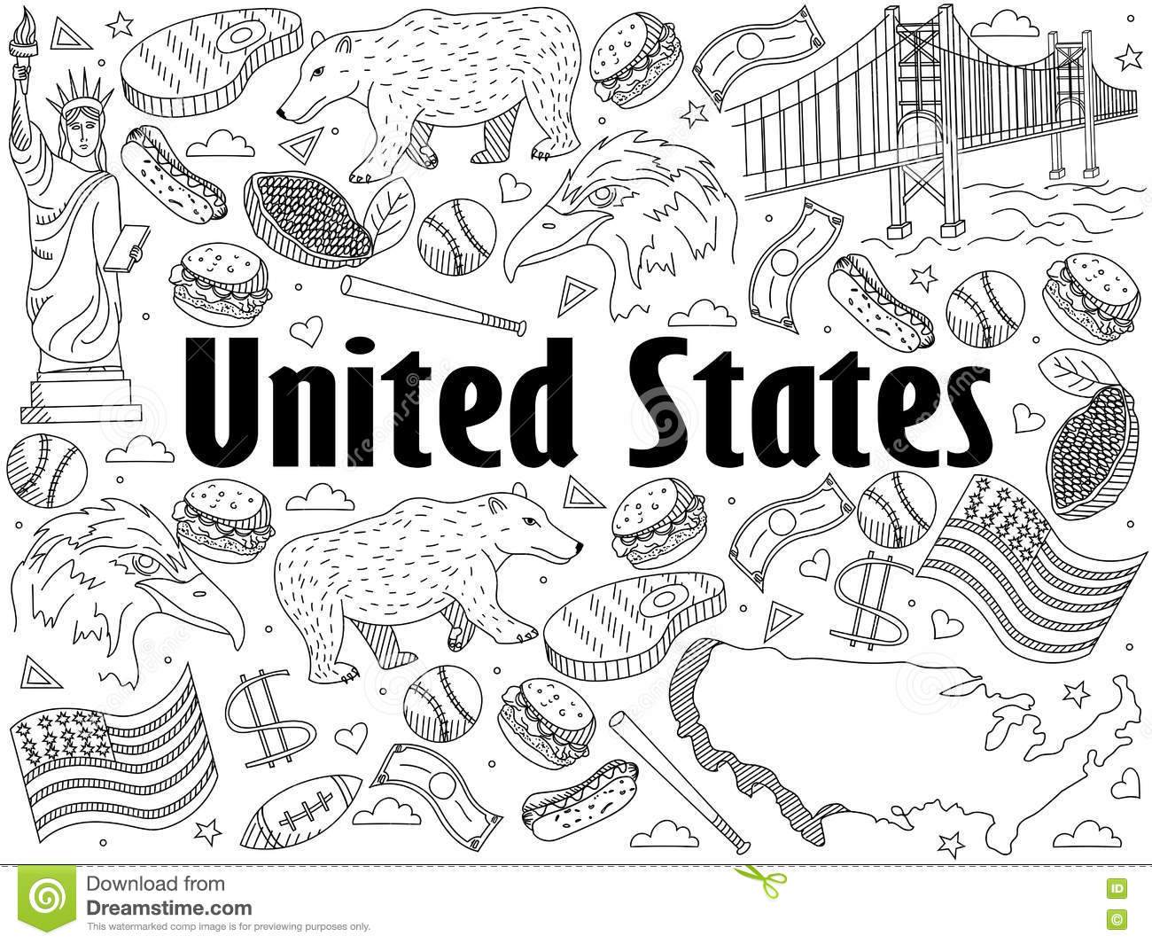 United States Coloring Book Vector Illustration Stock