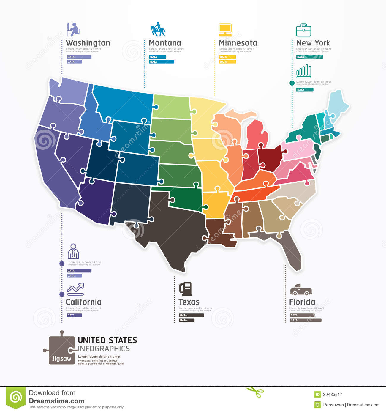 United States Map Infographic Template Jigsaw Concept