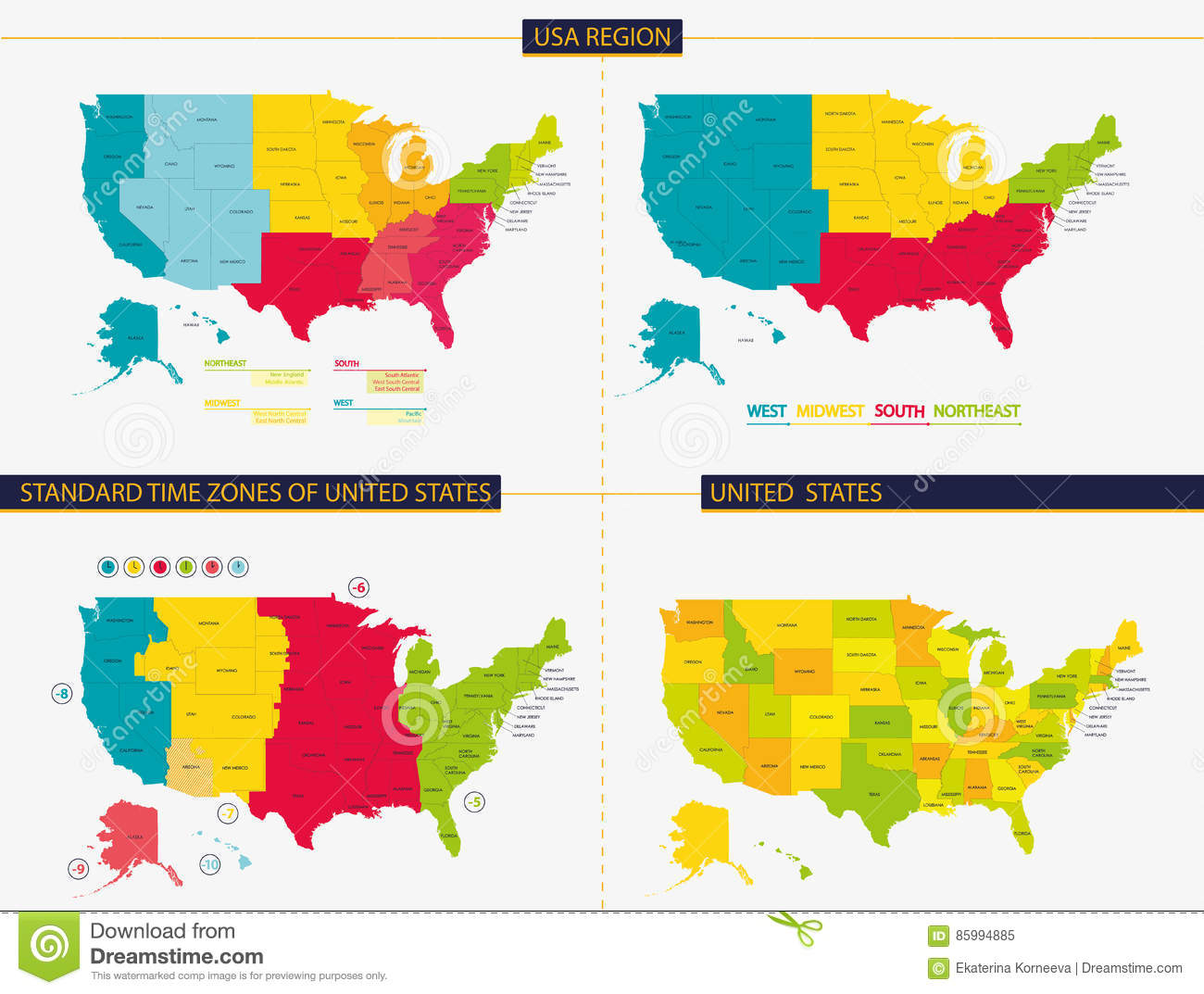 United States Standard Time Zones Of United States Usa