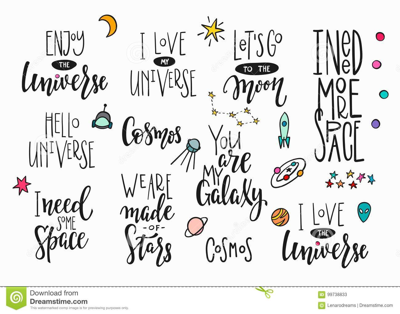 Universe Space Quote Typography Lettering Set Stock