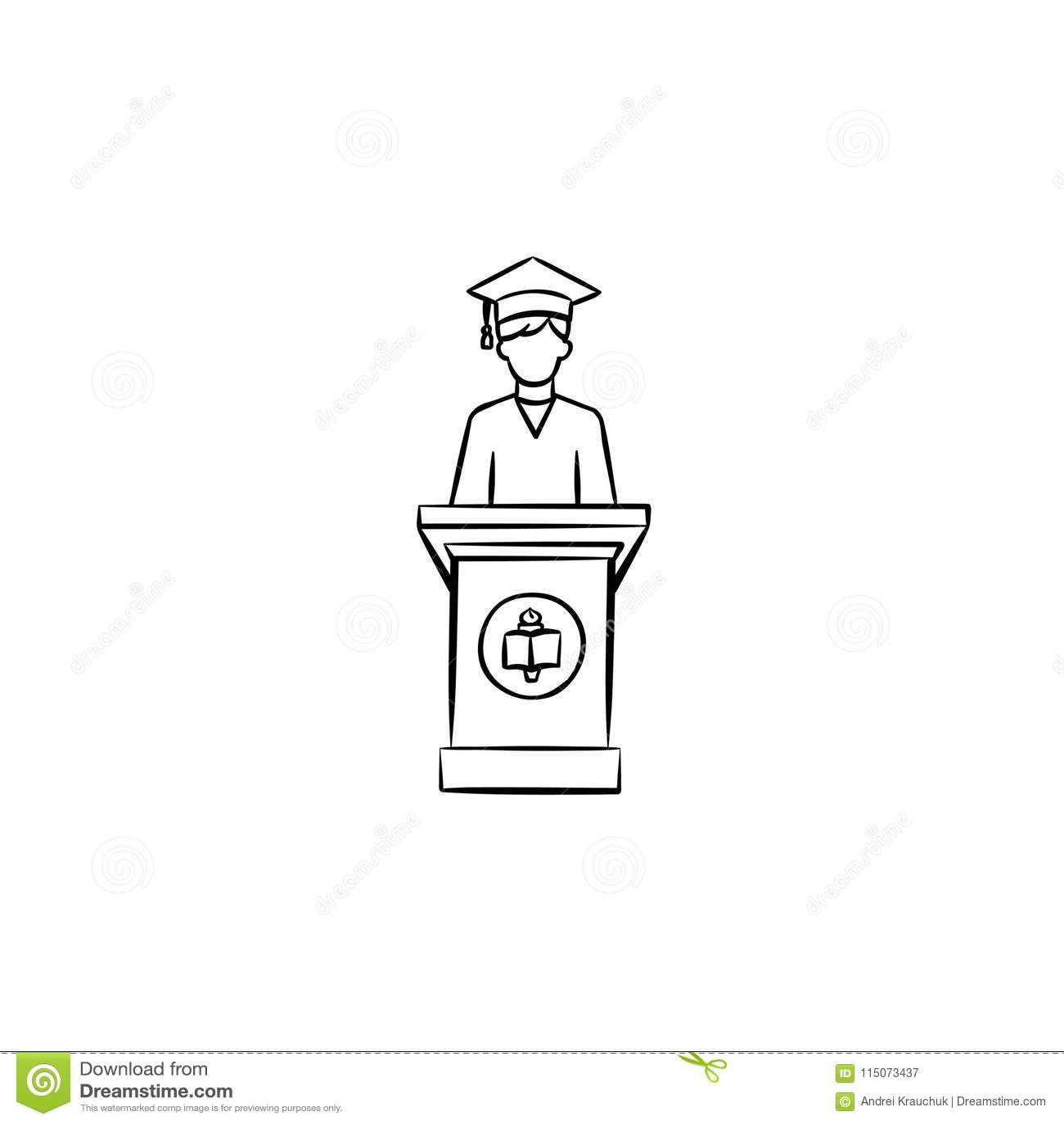 University Graduation Student Hand Drawn Icon. Stock