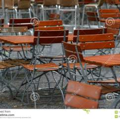 Folding Chair Legs Desk Officeworks Unoccupied Chairs And Tables In A Garden Restaurant With Table Made Of