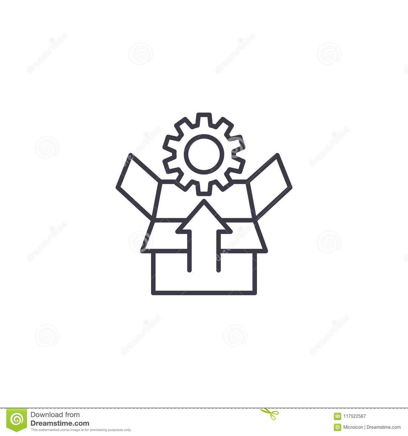 Unpacking Linear Icon Concept Unpacking Line Vector Sign