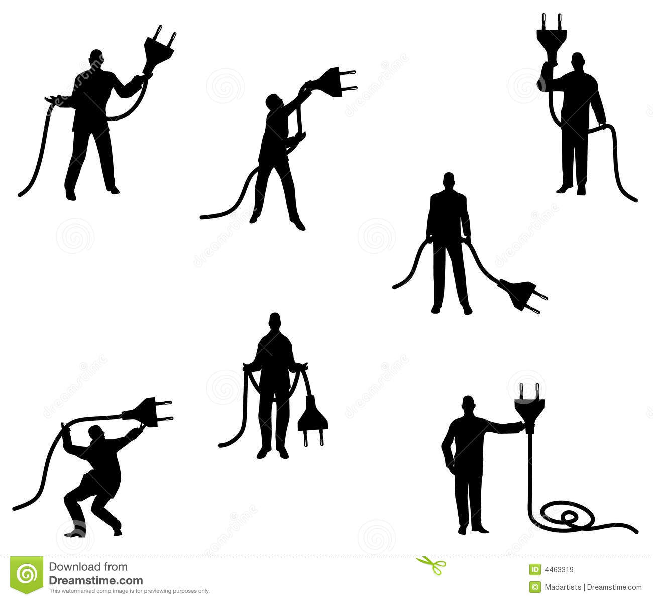 Unplugged Male Silhouettes Royalty Free Stock Images