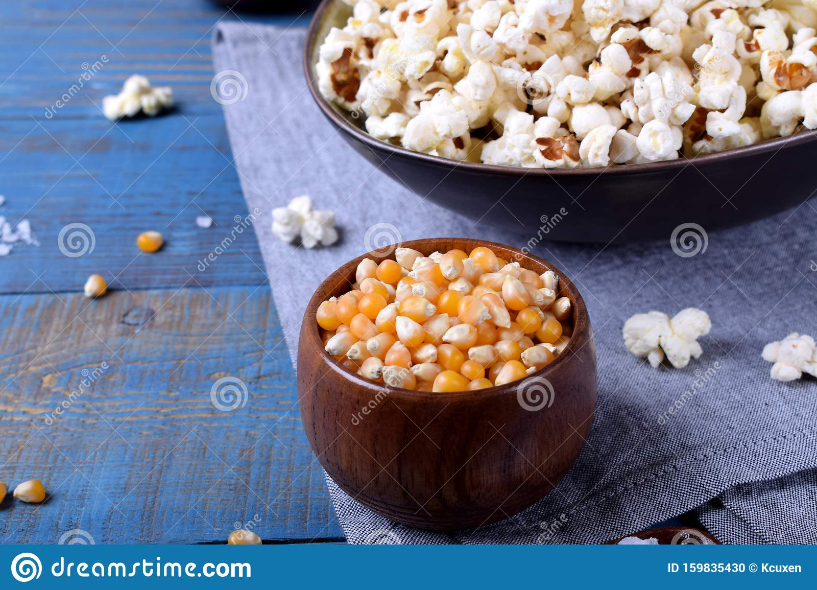 Unpopped Corn Kernels For Making Popcorn In A Wooden Cup ...