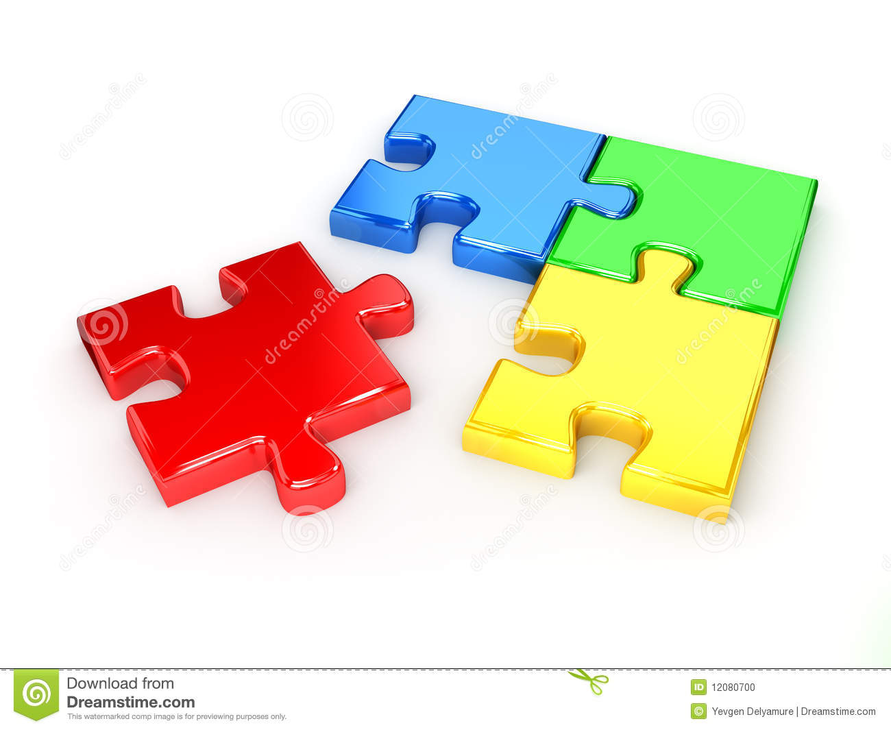Unsolved Puzzle From Blue Red Green And Yellow Stock