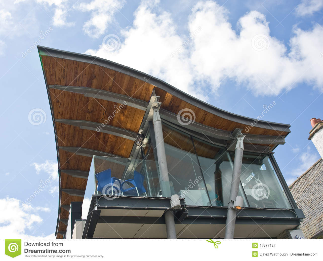 An unusual roof design. stock photo. Image of modern
