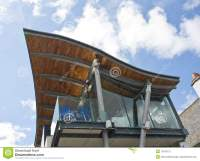 An unusual roof design. stock photo. Image of modern ...