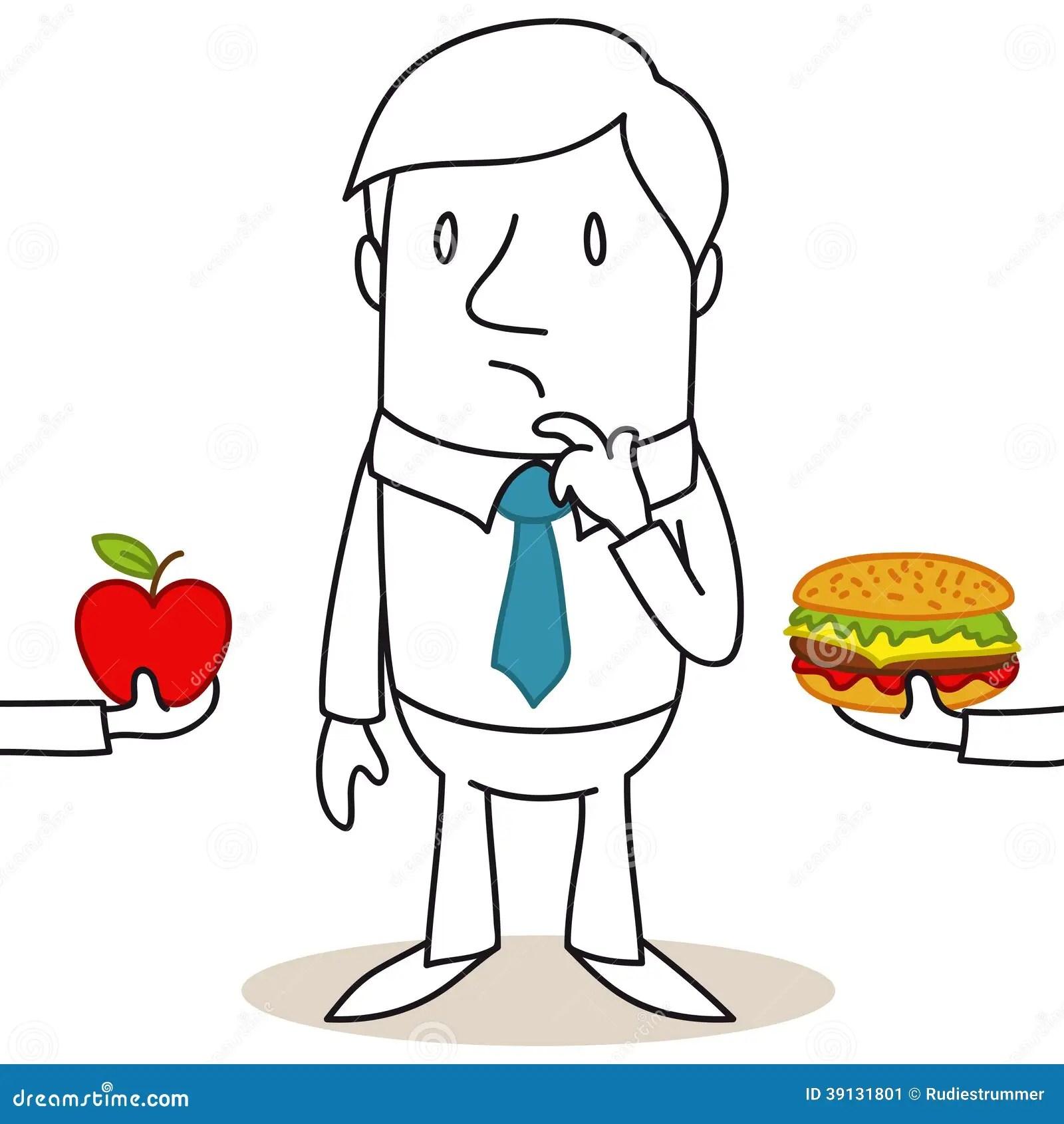 Uomo Del Fumetto In Buona Salute Decisione Degli Alimenti
