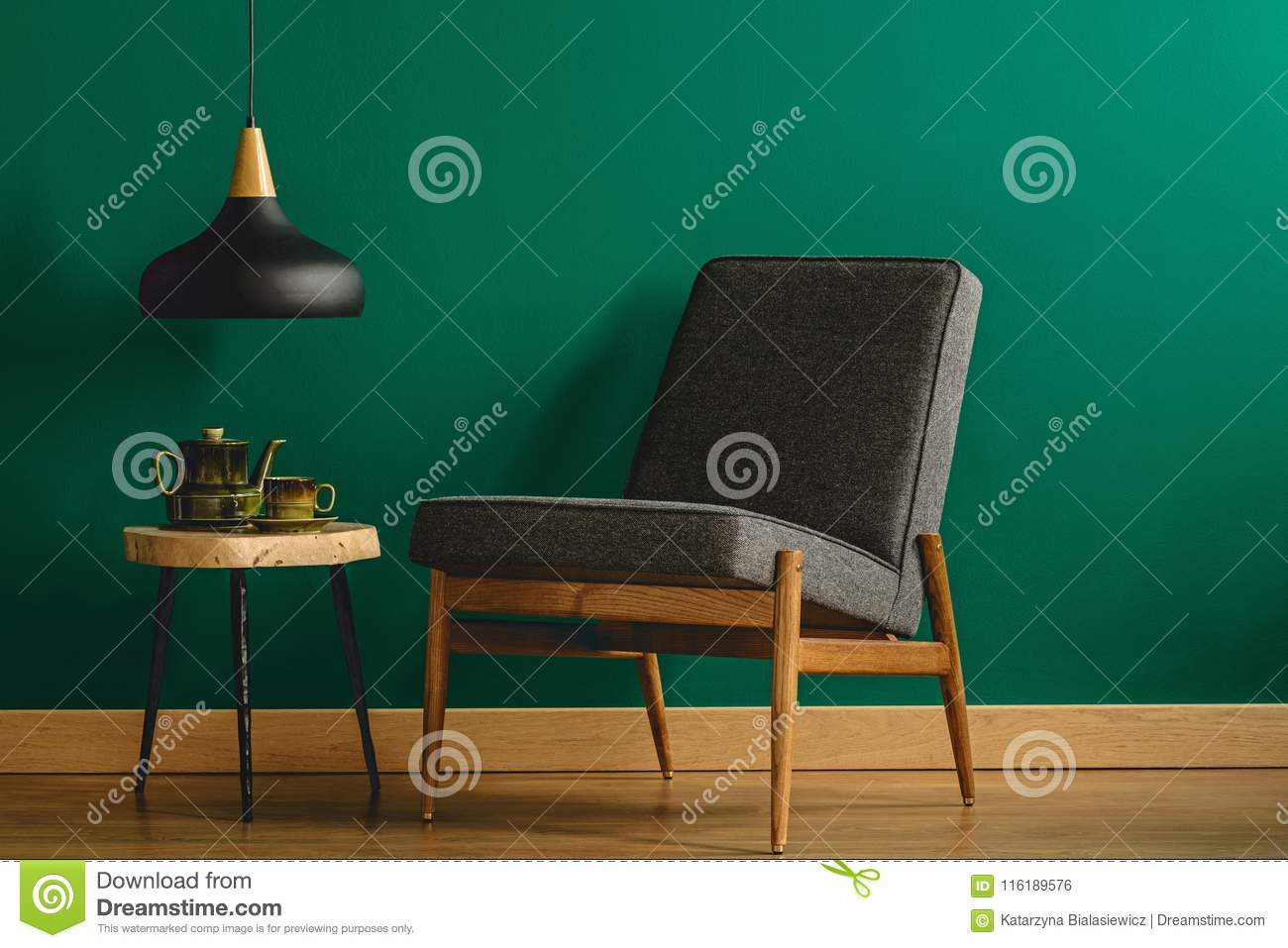 Green Upholstered Chair Upholstered Chair By Green Wall Stock Photo Image Of Decor