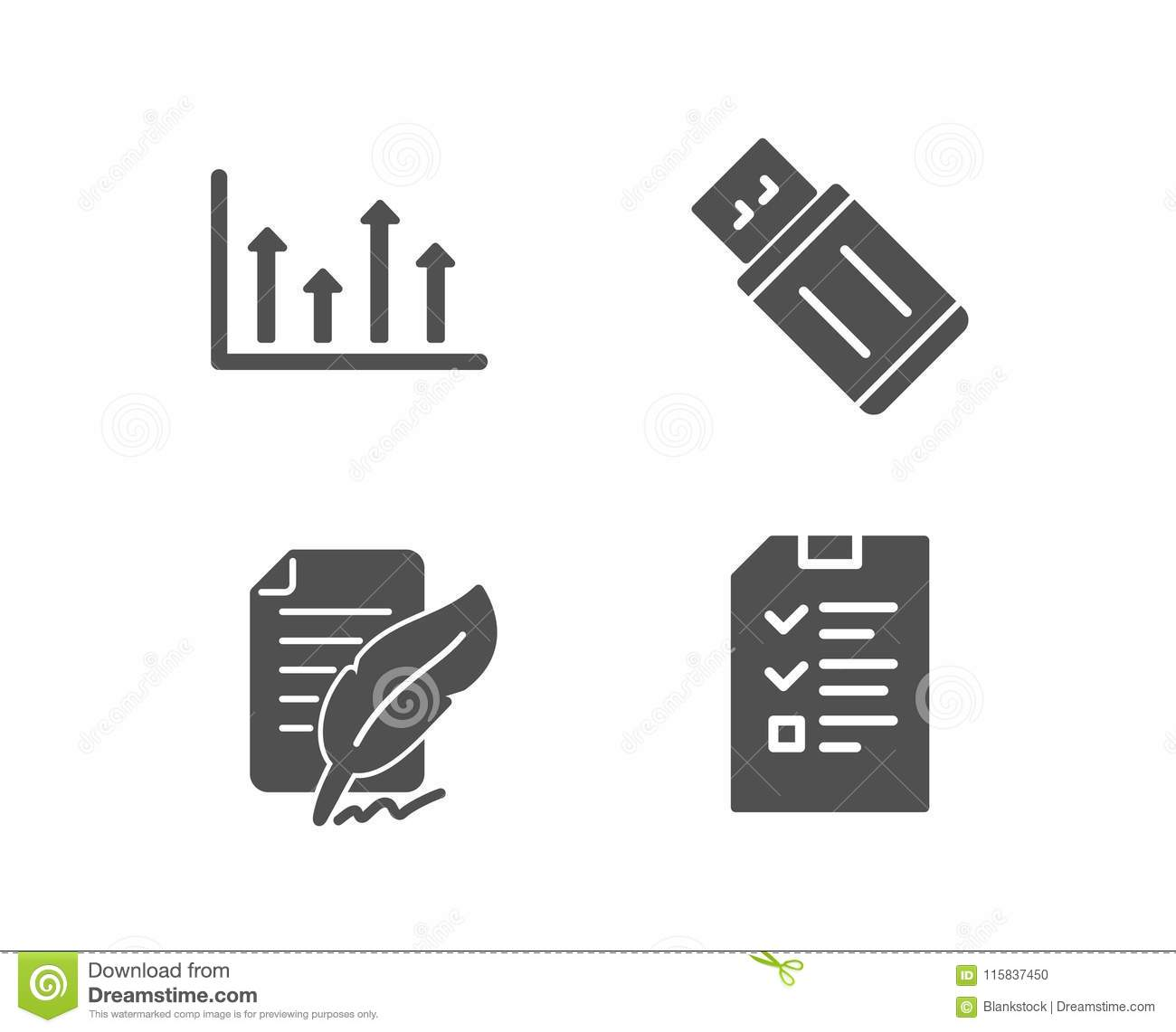 Upper Arrows Feather Signature And Usb Flash Icons