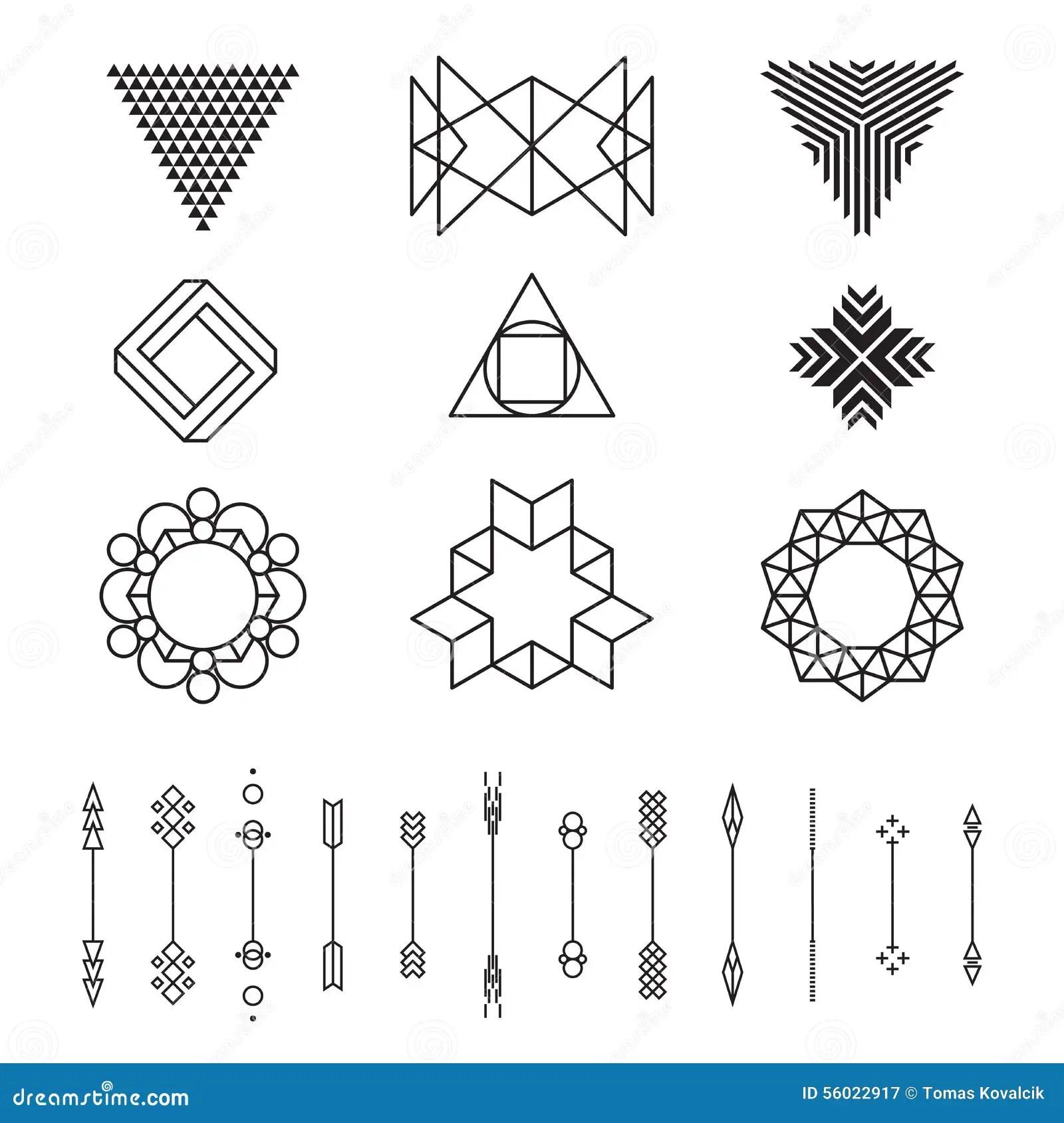 Uppsattning Av Geometriska Former Vektorillustration Som
