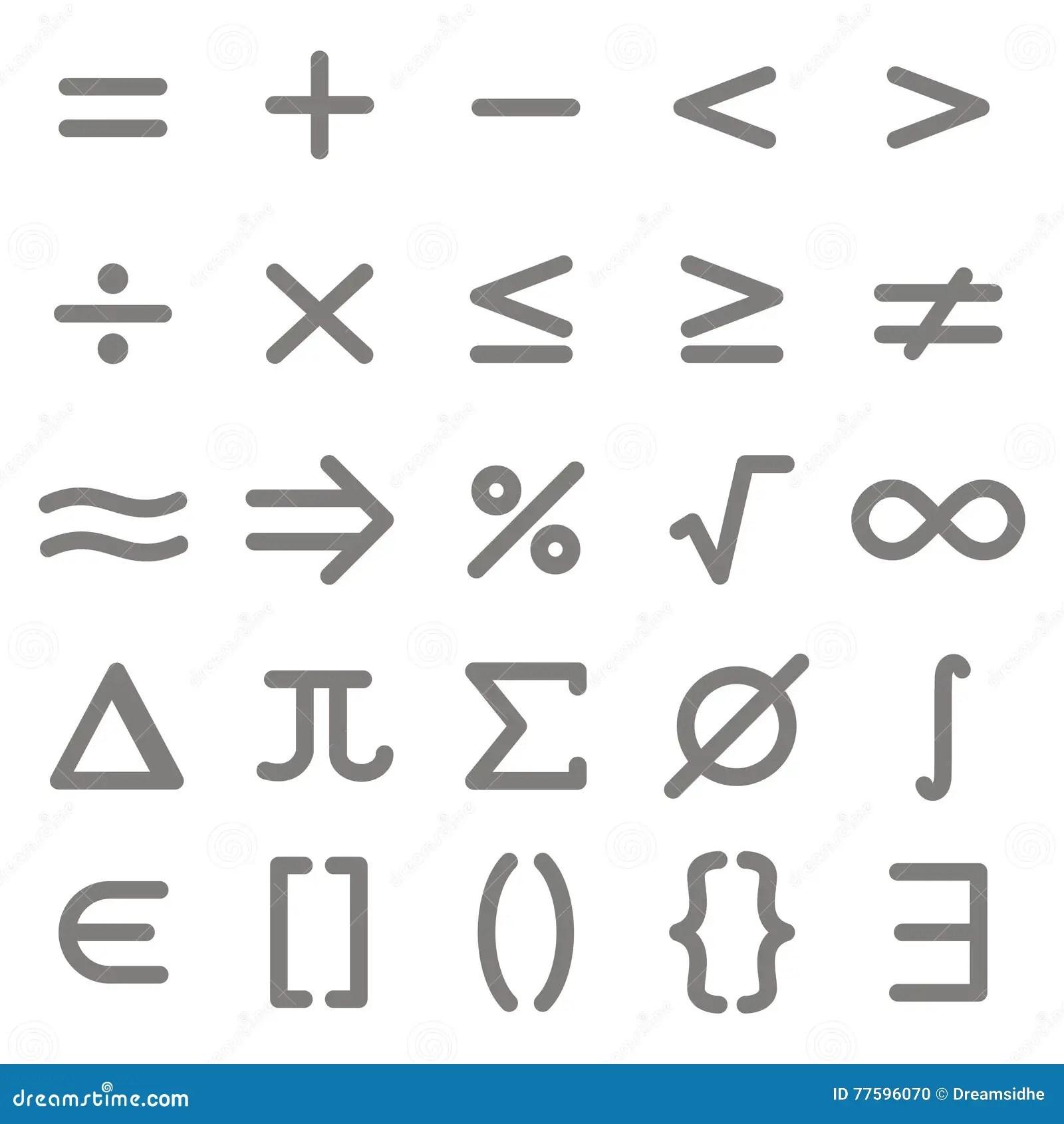 Uppsattning Av Monokromma Symboler Med Matematiska Symboler Vektor Illustrationer