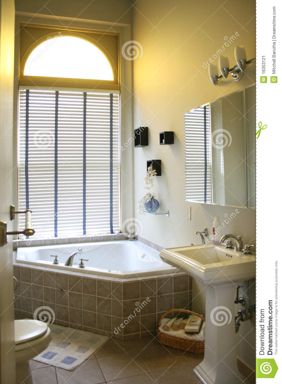 Upscale Bathroom With Corner Tub Stock Image  Image of